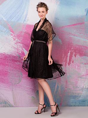 Lanting Bride® Ke kolenům Krajka Různorodé šaty Šaty pro družičky - A-Linie Větší velikosti / Malé s Šerpa / Stuha