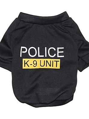 Gatos / Cães Camiseta Preto Roupas para Cães Verão Carta e Número / Polícia / Militar Da Moda