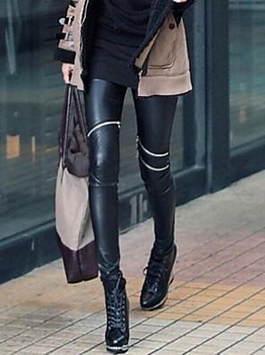Női aszimmetrikus térd cipzár műbőr nadrágot