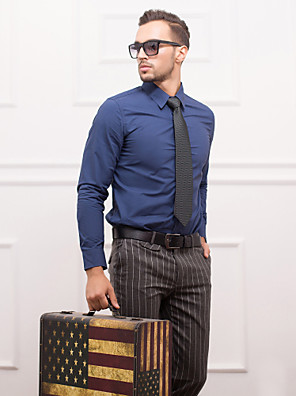azul-escuro slim fit camisa de manga longa