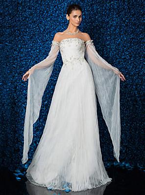 Lanting Bride® Tubinho Pequeno / Tamanhos Grandes Vestido de Noiva Longo Tomara que Caia Tule com