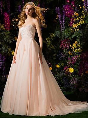 Lanting Bride® De Baile Pequeno Vestido de Noiva Vestidos Noiva de Cor Cauda Corte Tomara que Caia Tule com