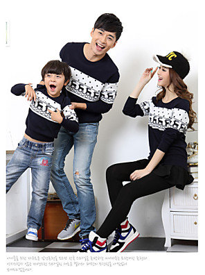 Family's Fashion Contracted  Color Matching Parent Child Long Sleeve Knitwear