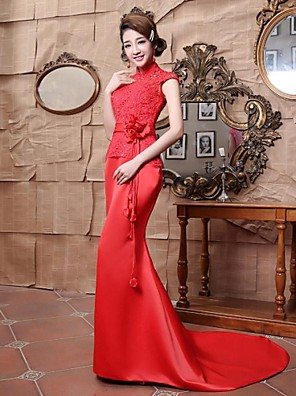 Formal Evening Dress Trumpet / Mermaid High Neck Floor-length Satin with Beading / Flower(s) / Lace / Sash / Ribbon