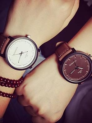 Heren / Dames / Voor Stel Modieus horloge Kwarts Leer Band Vrijetijdsschoenen Zwart / Bruin Merk