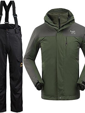 Homens Jaqueta de Inverno / Conjuntos de Roupas/Ternos Esqui Impermeável / Mantenha Quente / A Prova de Vento Inverno Verde MilitarS / M