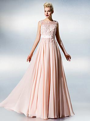 ts couture® vestido plus size / petite A linha de Jewel andar de comprimento chiffon / laço com laço