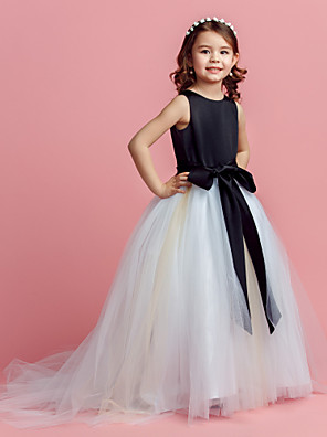 Ball Gown Sweep / Brush Train Flower Girl Dress - Satin / Tulle Sleeveless Jewel with Bow(s) / Sash / Ribbon