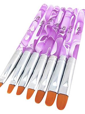 7db 2in1 akril&UV zselé ecset be nylon haj víz minta lila átlátszó akril fogantyú nail art
