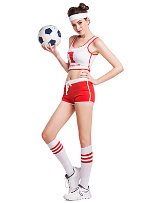 Fantasias para Cheerleader Roupa / Acesssórios de Palco Mulheres Actuação / Treino Poliéster Sem Mangas 35cm