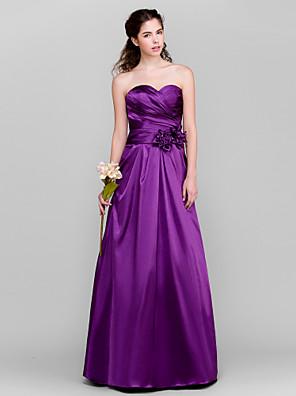 Lanting Bride® Na zem Taft Šaty pro družičky - A-Linie Srdce Větší velikosti / Malé s Květina(y) / Křížení