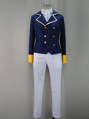 קיבל השראה מ Attack on Titan Levy אנימה תחפושות Cosplay חליפות קוספליי טלאים כחול שרוולים ארוכים מעיל / חולצה / מכנסיים / צעיף / תג