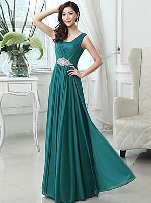 Longo Chiffon Elegante Vestido de Madrinha - Linha A Decote em U com Miçangas
