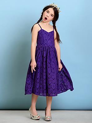 Tea-length Lace Junior Bridesmaid Dress A-line / Princess Spaghetti Straps with