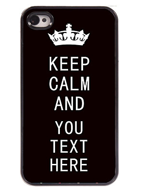 Personalized Case Black Keep Calm Design Metal Case for iPhone 4/4S