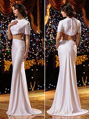 Lanting Bride® בתולת ים \ חצוצרה קטן / מידה גדולה שמלת כלה  שני חלקים שובל סוויפ \ בראש עם תכשיטים סריגה עם