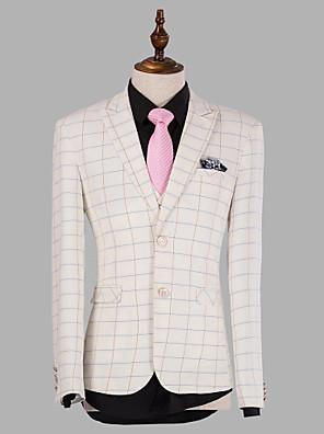 חליפות גזרה צרה סגור חזה כפול 6 כפתורים 3 חלקים לבן