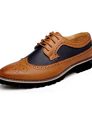 Men's Spring / Summer / Fall / Winter Comfort Leather Casual Low Heel Lace-up Black / Brown / Yellow