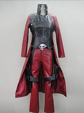 קיבל השראה מ Devil May Cry קוספליי וִידֵאוֹ מִשְׂחָק תחפושות Cosplay חליפות קוספליי טלאים אדום שרוולים ארוכיםמעיל / מכנסיים / כפפות /