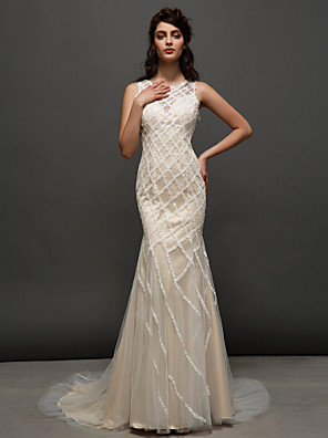 Lanting Bride® Trumpet / Mermaid Wedding Dress Wedding Dresses in Color Court Train Jewel Tulle