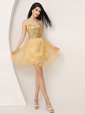 Cocktail Party Dress - Gold Plus Sizes / Petite A-line Sweetheart Knee-length