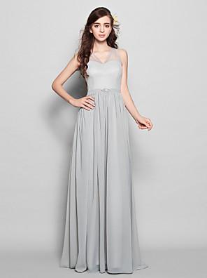 Lanting Bride® Na zem Šifón Mini já Šaty pro družičky - Pouzdrové Do V Větší velikosti / Malé s Šerpa / Stuha / Křišťálová brož