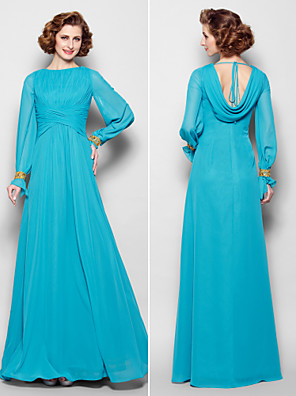 A-line Plus Size / Petite Mother of the Bride Dress Floor-length Long Sleeve Chiffon withBeading / Crystal Detailing / Draping / Criss