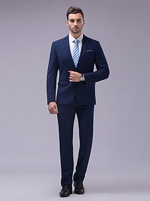 Suits Moderno Notch/ Paletó Fino Comum 2 Butões Algodão / Poliéster Cor Solida 2 Peças Azul Marinho
