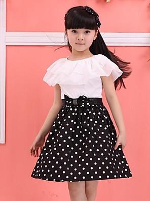 Girl's Dress,Cotton Blend Winter / Spring / Fall Black / Blue / Red