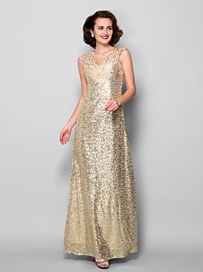 Lanting Bride® מעטפת \ עמוד פלאס סייז (מידה גדולה) / פטיט שמלה לאם הכלה  עד הריצפה ללא שרוולים נצנצים - אפליקציות / חרוזים / נצנצים