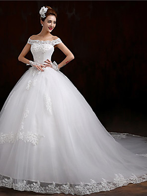 De Baile Vestido de Noiva Estilos Rendados Cauda Capela Ombro a Ombro Tule com