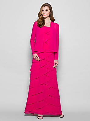 Sheath / Column Plus Size / Petite Mother of the Bride Dress - Wrap Included Floor-length Long Sleeve Georgette with Tiers