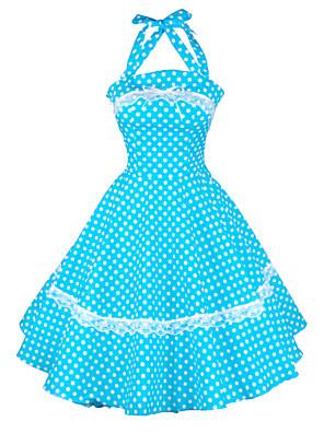 Maggie Tang Women's Halter 50s Vintage Polka Dots Housewife Rockabilly Swing Dress,Plus Size