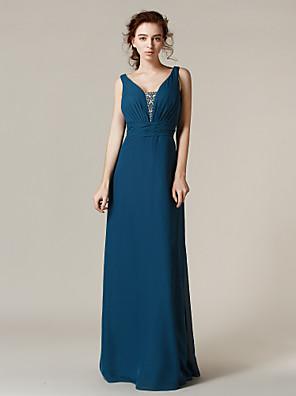 Lanting Bride® Na zem Šifón Šaty pro družičky - Pouzdrové Popruhy Větší velikosti / Malé sKorálky / Křišťály / Šerpa / Stuha / Boční