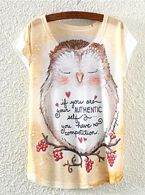 여성의 플로럴 라운드 넥 짧은 소매 티셔츠,귀여운 캐쥬얼/데일리 멀티 색상 면 사계절 중간