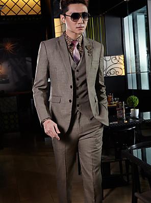 smokingy na míru fit tenká vrchol dvou tlačítek bavlna / polyester Tattersall 3 kusy hnědé