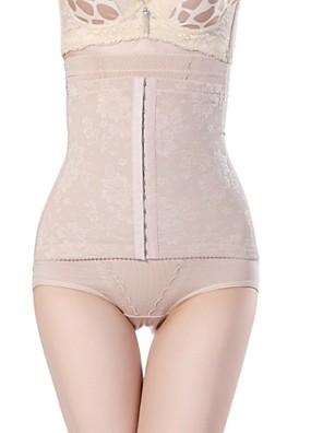 Stahovací spodní prádlo Prodyšnost / 3D ušití Šifón / Čínský nylon Žakár Kalhotky Vysoký pas Střední Černá / Béžová