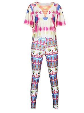 Damen Jumpsuits  -  Bodycon Kurzarm Polyester Mikro-elastisch