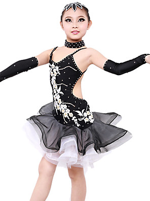 Latinské tance Šaty Dámské / Dětské Výkon / Trénink elastan Nášivky 5 kusů Přírodní Rukavice / Šaty / Neckwear / Vlasové ozdobyS:60cm M: