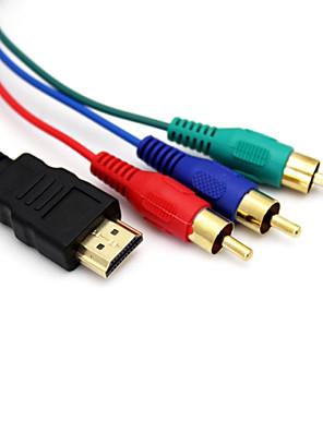 5ft 1,5m 1080p HDMI samec na 3 RCA video audio AV kabel adaptéru pro HDTV DVD