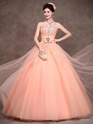 포멀 이브닝 드레스 볼 드레스 끈없는 스타일 바닥 길이 새틴 / 튤 / 폴리에스테르 와 리본 / 크리스탈 디테일 / 레이스 / 허리끈/리본