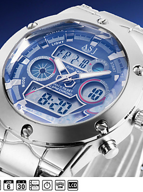 Heren Polshorloge Japanse quartz LCD / Kalender / Chronograaf / Waterbestendig / Dubbele tijdzones / alarm Roestvrij staal Band Zilver