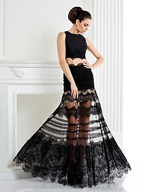 Evento Formal Vestido - Transparente / Duas Peças Linha A Decorado com Bijuteria Longo Renda / Cetim com Apliques / Miçangas / Renda