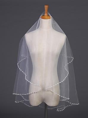 """הינומות חתונה שכבה אחת צעיפי מרפק קצה פנינה 55.12 אינץ' (140 ס""""מ) טול לבן / שנהב"""