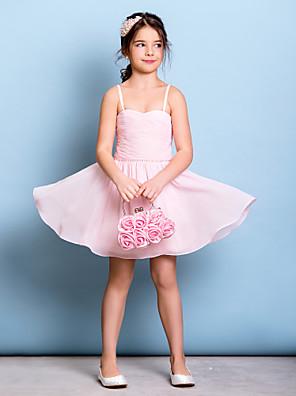 무릎 길이 쉬폰 쥬니어 신부들러리 드레스 A-라인 스파게티 스트랩 와 비즈 / 루시 주름 장식