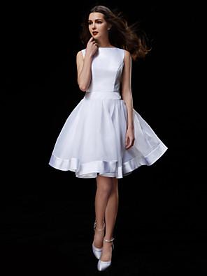 Lanting Bride® גזרת A קטן / מידה גדולה שמלת כלה  באורך  הברך סירה אורגנזה / סאטן עם
