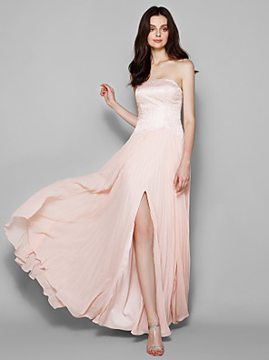 Floor-length Chiffon / Lace Bridesmaid Dress Sheath / Column Strapless Plus Size / Petite with Lace / Split Front
