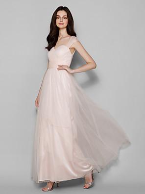 Lanting Bride® Longo Tule Vestido de Madrinha Tubinho Rainha Anne Tamanhos Grandes / Mignon com Cruzado