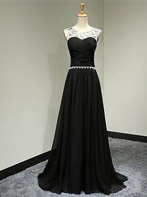 포멀 이브닝 드레스 A-라인 스쿱 스윕 / 브러쉬 트레인 쉬폰 와 비즈