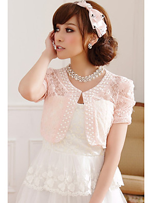 Hochzeitsverpackungen Kurzhülse Spitze / Polyester süß Boleros schwarz / weiß / rosa Bolero